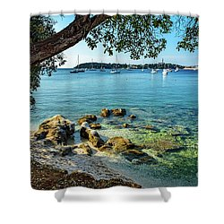 Rovinj Old Town, Harbor And Sailboats Accross The Adriatic Through The Trees Shower Curtain