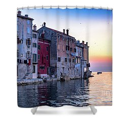 Rovinj Old Town On The Adriatic At Sunset Shower Curtain