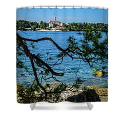 Rovinj Seaside Through The Adriatic Trees, Istria, Croatia Shower Curtain