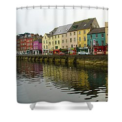 Shower Curtain featuring the photograph Row Homes On The River Lee, Cork, Ireland by Marie Leslie