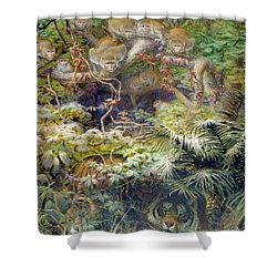 Row In The Jungle Shower Curtain