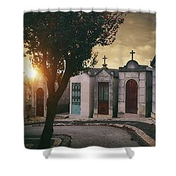 Shower Curtain featuring the photograph Row Of Crypts by Carlos Caetano