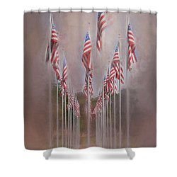 Shower Curtain featuring the photograph Row Of Flags by Clare VanderVeen
