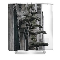 Shower Curtain featuring the photograph Row Of Gargoyles by Christopher Kirby