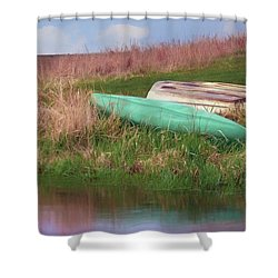 Shower Curtain featuring the photograph Rowboat - Canoe by Nikolyn McDonald