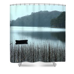 Shower Curtain featuring the photograph Rowboat On Muckross Lake by Marie Leslie