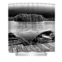 Shower Curtain featuring the photograph Rowboats At The Dock 4 by David Patterson