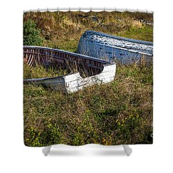 Rowboats In Brigus Shower Curtain by Verena Matthew
