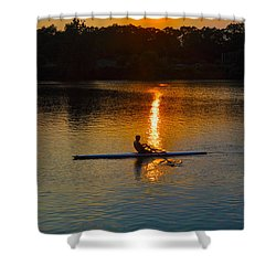 Rowing At Sunset 2 Shower Curtain by Bill Cannon