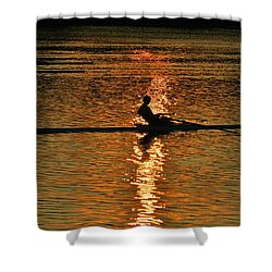 Rowing At Sunset 3 Shower Curtain by Bill Cannon