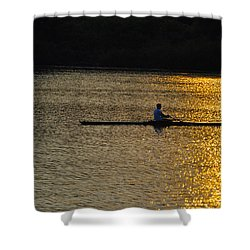 Rowing At Sunset Shower Curtain by Bill Cannon