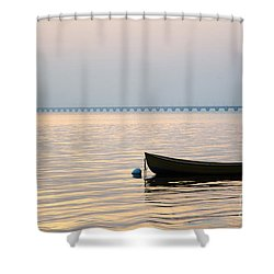 Rowing Boat At Sunset Shower Curtain by Kennerth and Birgitta Kullman