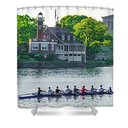 Shower Curtain featuring the photograph Rowing Crew In Philadelphia In The Spring by Bill Cannon