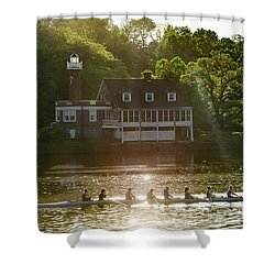 Shower Curtain featuring the photograph Rowing In Front Of Segley Club by Bill Cannon