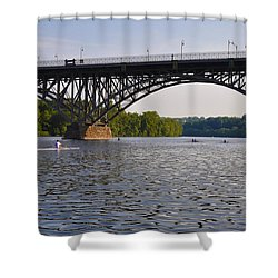 Rowing Under The Strawberry Mansion Bridge Shower Curtain by Bill Cannon