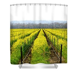 Rows Of Wild Mustard Shower Curtain by Tom Reynen