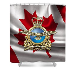 Royal Canadian Air Force Badge Over Waving Flag Shower Curtain
