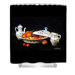 Royal Copenhagen And Fruits Shower Curtain