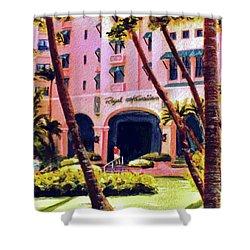 Royal Hawaiian Hotel On Waikiki Beach #131 Shower Curtain by Donald k Hall