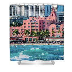 Royal Hawaiian Hotel Surfs Up Shower Curtain