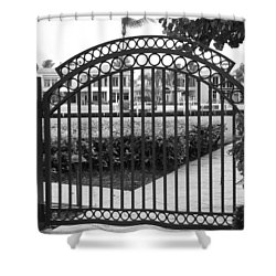 Royal Palm Gate Shower Curtain by Rob Hans