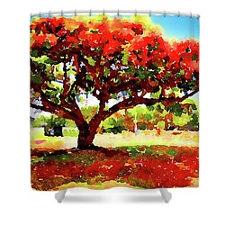 Shower Curtain featuring the painting Royal Red by Angela Treat Lyon