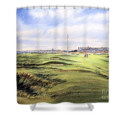 Shower Curtain featuring the painting Royal Troon Golf Course by Bill Holkham