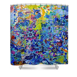 Rube Goldberg Abstract Shower Curtain by Regina Valluzzi