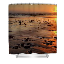 Ruby Beach Sunset Shower Curtain by David Chandler