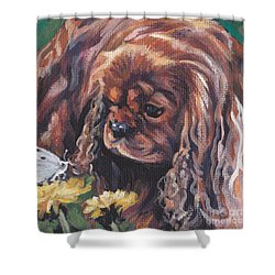 Shower Curtain featuring the painting Ruby Cavalier King Charles Spaniel by Lee Ann Shepard