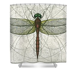 Ruby Meadowhawk Dragonfly Shower Curtain by Charles Harden
