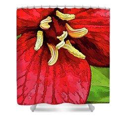 Ruby Red Trillium Shower Curtain