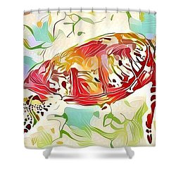 Ruby The Turtle Shower Curtain by Erika Swartzkopf