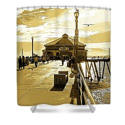 Ruby's At The Pier Shower Curtain by Everette McMahan jr