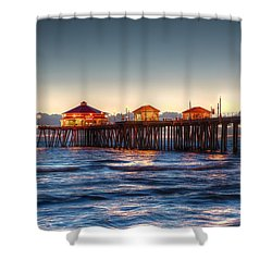 Shower Curtain featuring the photograph Ruby's Surf City Diner At Twilight - Huntington Beach Pier by Jim Carrell