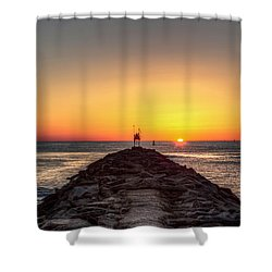 Rudee Inlet Jetty Shower Curtain