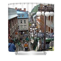 Shower Curtain featuring the photograph rue du Petit Champlain by John Schneider
