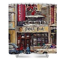 Rue Peel Montreal Winter Street Scene Paintings Peel Pub Cafe Republique Hockey Scenes Canadian Art Shower Curtain