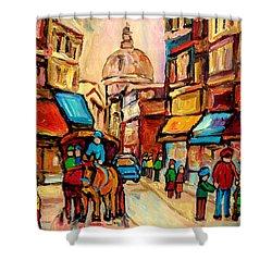 Rue St. Paul Old Montreal Streetscene Shower Curtain by Carole Spandau