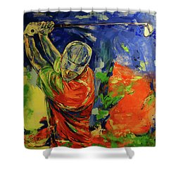 Rueckschwung   Backswing Shower Curtain by Koro Arandia