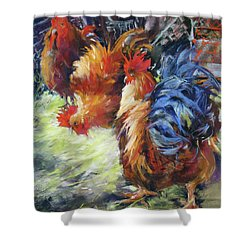 Ruffled Feathers Shower Curtain by Rae Andrews