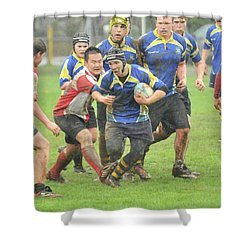 Rugby In The Mud Shower Curtain by Rod Wiens