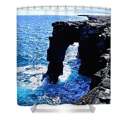 Shower Curtain featuring the photograph Rugged Kona Sea Arch by Amy McDaniel