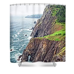 Rugged Oregon Coast On A Foggy Day Shower Curtain