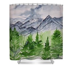 Ruidoso Nm Southwestern Mountain Landscape Watercolor Painting Poster Print Shower Curtain by Derek Mccrea