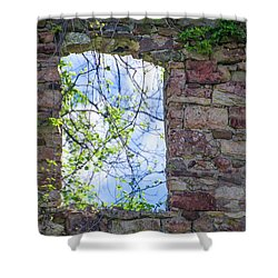 Shower Curtain featuring the photograph Ruin Of A Window - Bridgetown Millhouse  Bucks County Pa by Bill Cannon
