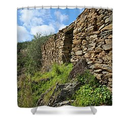 Ruins Of A Schist Cottage In Alentejo Shower Curtain by Angelo DeVal