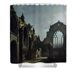 Ruins Of Holyrood Chapel Shower Curtain by Louis Jacques Mande Daguerre