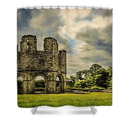 Shower Curtain featuring the painting Ruins Of Mellifont Abbey by Jeff Kolker
