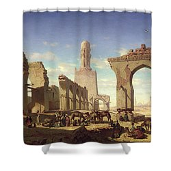 Ruins Of The Mosque Of The Caliph El Haken In Cairo Shower Curtain by Prosper Georges Antoine Marilhat